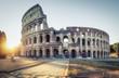 Quadro Colosseum at sunset. Scenic landmark of Rome, Italy, in morning light.