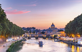 Scenic view of Rome, Italy, at sunset. Colorful travel background. - 218174479