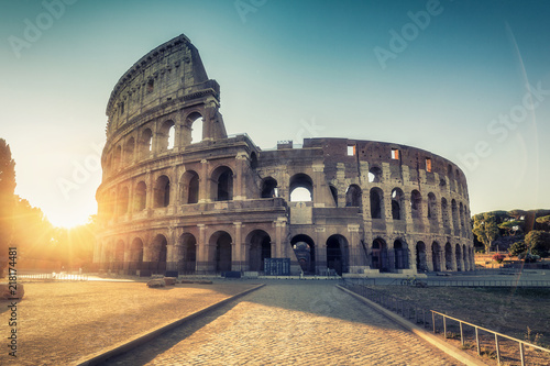 Colosseum in Rome, Italy at sunrise. Colourful travel background. - 218174481
