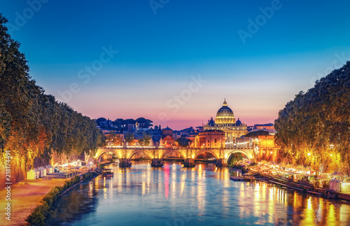 St. Peter's Basilica in Rome, Italy at sunset. Scenic travel background. Popular travel destination.