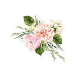 A beautiful watercolor bouquet  with peony and rose.  - 218176688