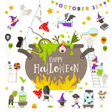 Halloween vector illustration. Group of active halloween characters around a giant witch pot. - 218179040