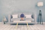 Skandinavisches, nordisches Wohnzimmer - Sofa - Couch - Textfreiraum - Platzhalter - maritime Dekoration - Retro Look - 218179600