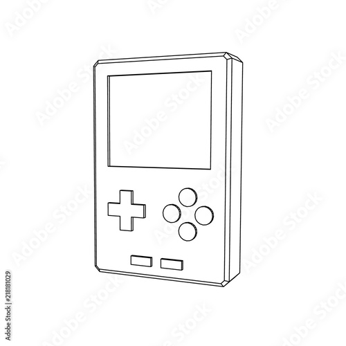Video Game Console Isolated On White Background Vector Outline - Video game outline