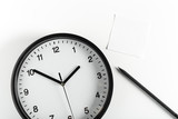paper stick on clock for notice something with white background - 218183265