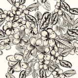 Beautiful vector pattern with hand drawn tropical flowers in vintage style - 218184698