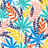 Seamless pattern with exotic leaves. Tropical leaves of palm tree. - 218188662