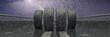 Leinwanddruck Bild - Reifen auf nasser Fahrbahn im Regen