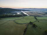 Drone image of a misty dawn English landscape - 218189099