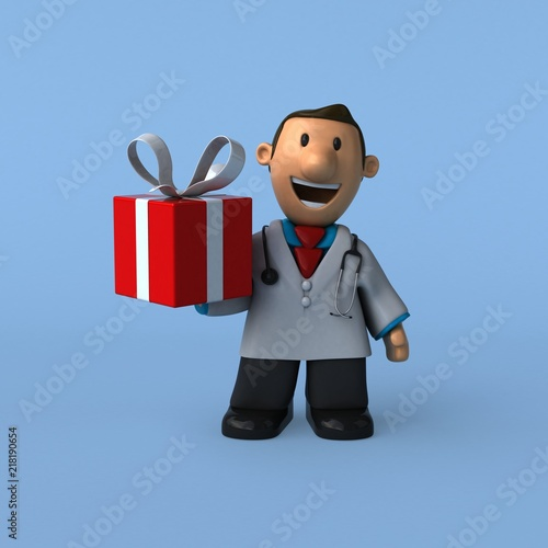 Leinwanddruck Bild Cartoon doctor - 3D Illustration