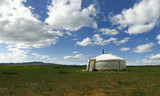 yurt , in the grassland of Mongolia