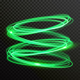 Green neon light circles. Vector abstract shiny trace or spiral twirl trail with shine sparkle effect isolated on transparent background - 218202603