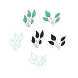 Vector hand drawn seaweeds. Isolated individual objects, algae.