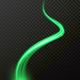 Green comet glow light trail or wave trace with vector shiny neon particles - 218203681