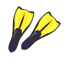 Pair Of Yellow Flippers For Professional Diving Sticker