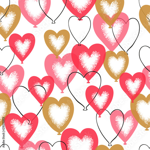 Heart Balloons Seamless Pattern Valentines Day Romantic Vector