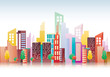 Vector illustration Colorful Building and City - 218207259