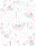 Cute Hand Drawn Sleeping Little Bunnies, Vector Pattern. Pink Rabbits Sleeping on the Blue Clouds. Pink, Grey and Blue Flowers, Twigs and Leaves. White Background.