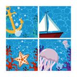 Set of sea cartoons