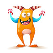 Funny, cute, crazy monster - cartoon characters Vector eps 10 - 218214221