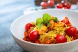 Small prawns tomato compote Tagliatelle with pesto