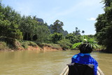 Rafting on a mountain river on bamboo rafts. Thailand. Phuket.