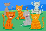 cute cats or kittens characters group