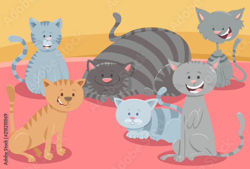 cute cats or kittens animal characters group