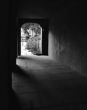 Dark Mysterious Quiet Tunnel Black and White Vertical Background