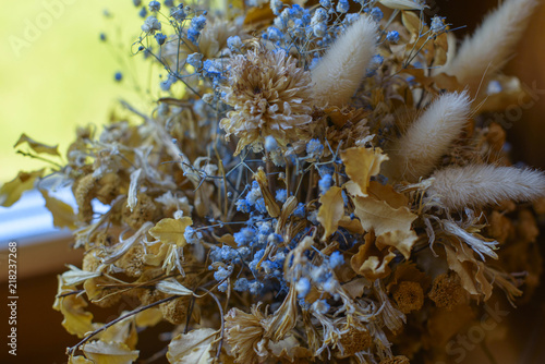 beautiful and delicate bouquet of dried flowers © klavdiyav