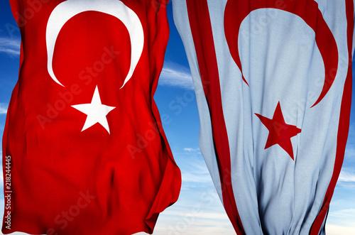 In de dag Cyprus Turkish flag and Turkish Republic of Northern Cyprus Flag