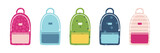Set, collection of cute and colorful cartoon style school bags for back to school design. - 218253805