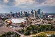 Aerial View of landmark buildings in Downtown Calgary, Alberta, Canada.