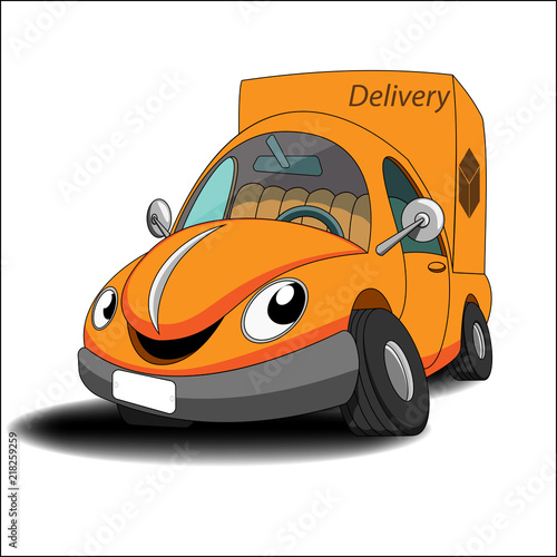 Canvas Auto Orange cartoon car delivery