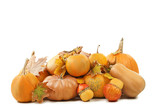 Orange pumpkins with dry leafs isolated on a white background - 218261872