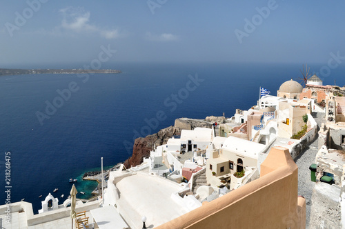 View of the Oia village and the Aegean sea.