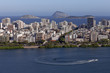 Quadro Neighbourhood of Ipanema in Rio de Janeiro with in the foreground a boat and waterskiing on the city lake and in the background the Atlantic ocean with a few islands off the coast