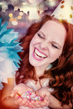Beauty with red hair and party hut - 218272454