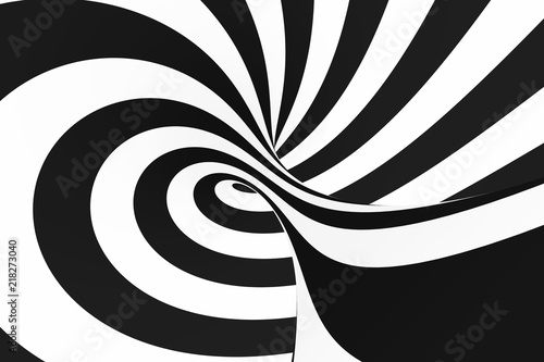 Fototapeta Black and white spiral tunnel. Striped twisted hypnotic optical illusion. Abstract background.