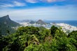 Quadro Rio de Janeiro seen from the 'Chinese viewpoint' in the Atlantic jungle with the Corcovado mountain, the city lake, neighbourhood Ipanema on the right and the Sugarloaf mountain in the back