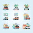 group of people in car vacations vector illustration design - 218276804