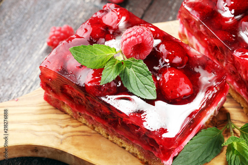 Raspberry Cake for holidays with mint and fresh delicious raspberries. - 218276888