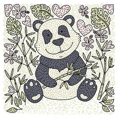 Panda bear doodle Illustration with bamboo. Hand drawn detailed cartoon card. Vector.