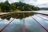 Swimming lanes on a lake, in Rockaway, Morris county, New Jersey - 218291431