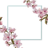 Pink Flower Decorated Corners Square Frame Isolated on White. Square Template Framed and Decorated with Pink Spring Flowers.