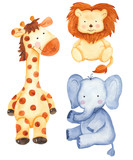 Watercolor set with cute animals: giraffe, lion, elephant. Isolated illustration on white background. Perfect for children's cards, invitations, children's shows.