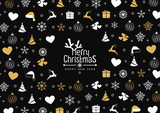 Christmas background with element icons banner, snowflakes. Vector illustration - 218304892