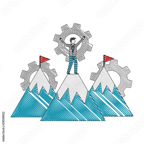 mountains with flag on top gears business