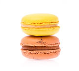 Sweet and colourful french macaroons or macaron isolated on white background - 218310202