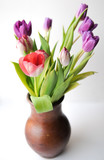 Pink and lilac tulips in a brown clay jug. On white background, isolated